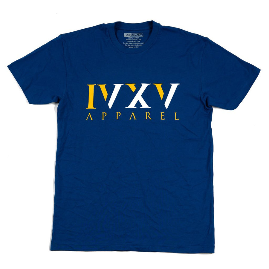 IVXV-Logo-Golden-State-Warriors-Colors-White-and-Gold-on-Royal-Blue-Shirt