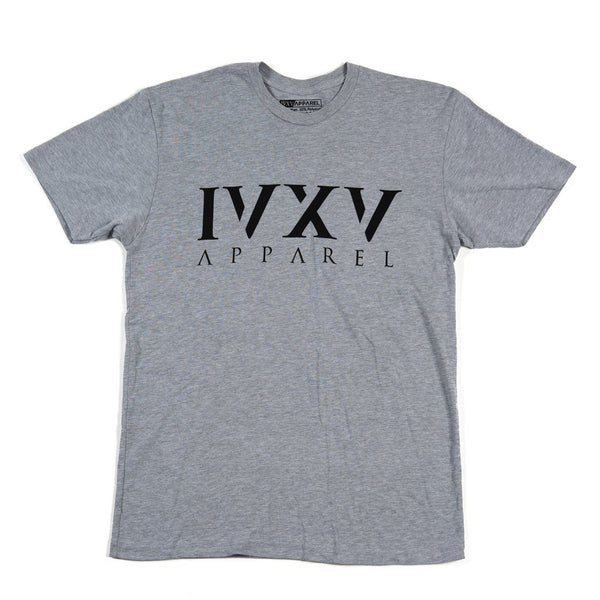 IVXV-Logo-Shirt-Heather-Gray-with-Black-Ink-On-Front
