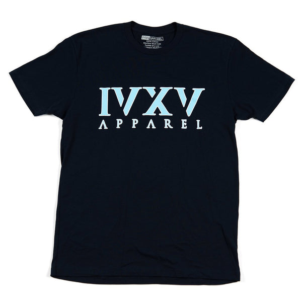 IVXV-Logo-Shirt-Navy-Blue-with-Carolina-Blue-Ink-On-Front