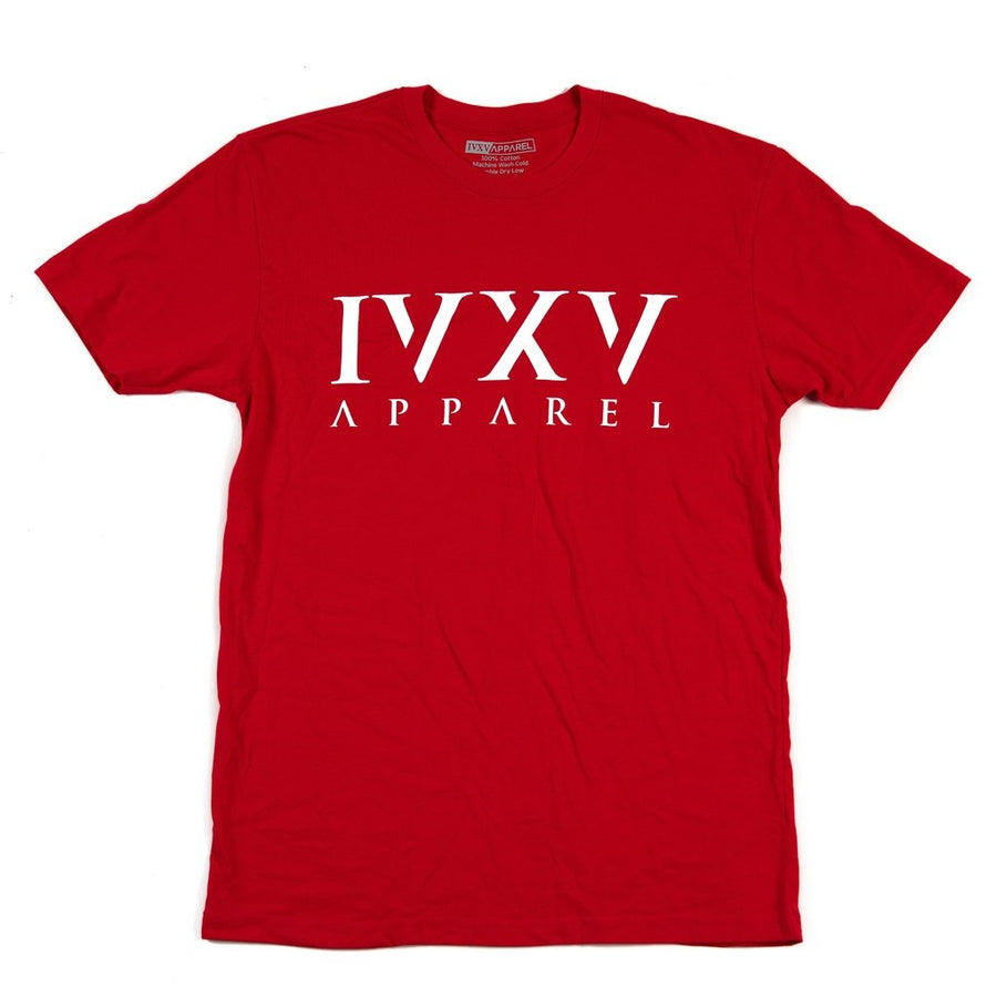 IVXV-Logo-Shirt-Red-with-White-Ink-On-Front