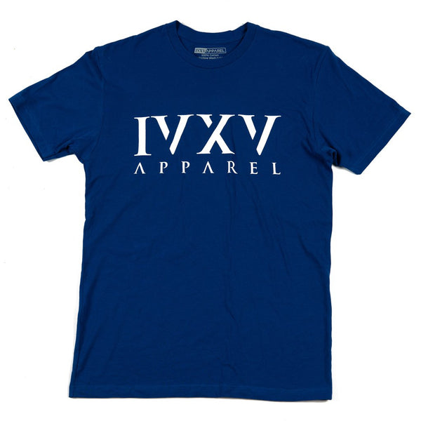 IVXV-Logo-Shirt-Royal-Blue-with-White-Ink-On-Front