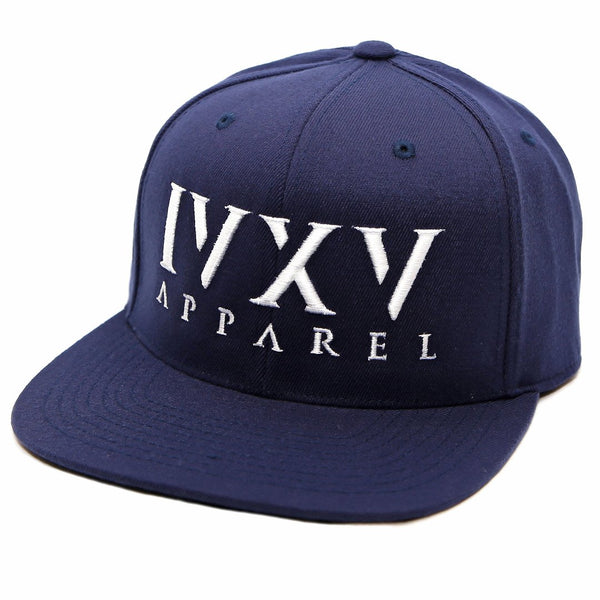 Navy Blue Snapback Cap with raised 3D embroidered IVXV logo in White
