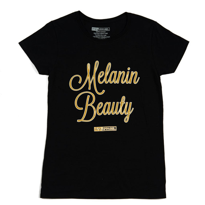 Melanin-Beauty-Metallic-Gold-ink-on-Black-Shirt