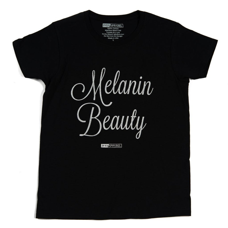 Melanin-Beauty-Metallic-Silver-ink-on-Black-Shirt