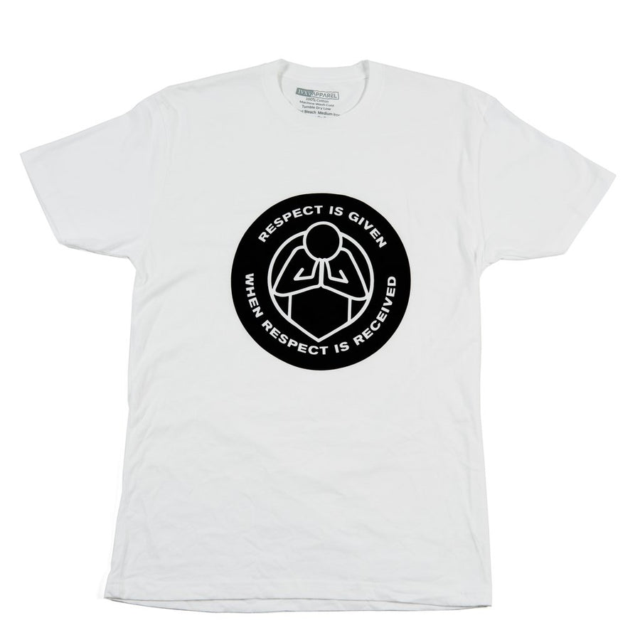 Respect-Shirt-White-With-Black-Ink-On-Front