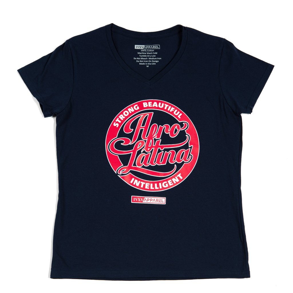Strong-Beautiful-Intelligent-Afro-Latina-Navy-Blue-With-Red-And-White-Ink-On-Front