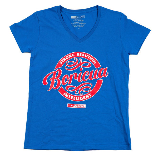 Strong-Beautiful-Intelligent-Boricua-Royal-Blue-Shirt-with-Red-and-White-ink-on-Front