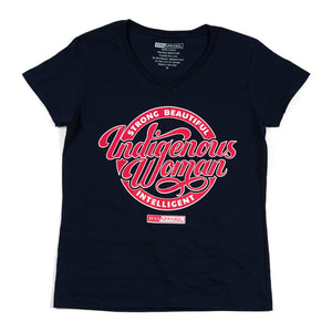 Strong-Beautiful-Intelligent-Indigenous-Woman-Navy-Blue-With-Red-And-White-Ink-On-Front