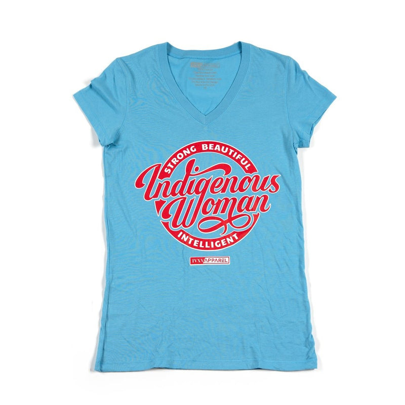 Strong-Beautiful-Intelligent-Indigenous-Woman-Powder-Blue-With-Red-And-White-Ink-On-Front