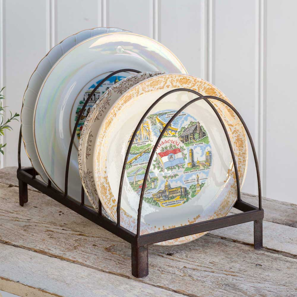 Rustic Wire Arches Tabletop Plate Caddy