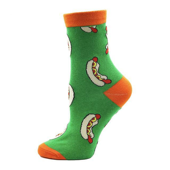 Green Cartoon Hot Dog Socks - sock Vendor