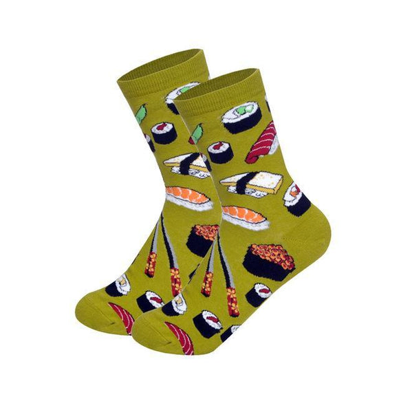 Green Cartoon Sushi Socks - sock Vendor