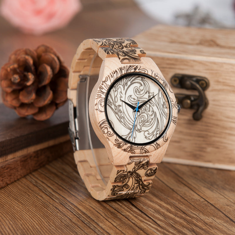 Mens Pine Wooden Quartz Watch with Wood Box and Tool For Adjusting Size