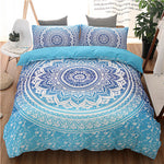 Bohemian Blue Print Bedding set. Duvet Cover Set with Pillowcases