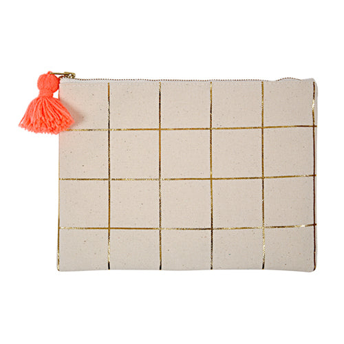 Gold Foil Grid- Canvas Pouch
