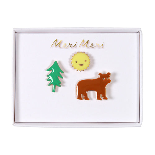 Tree, Sun, Bear Enamel Pins Lemon Drop Children's Shop Lemon Drop Children's Shop - Lemon Drop Children's Shop