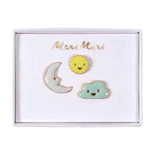 Sun, Moon, Cloud, Enamel Pins Lemon Drop Children's Shop Lemon Drop Children's Shop - Lemon Drop Children's Shop