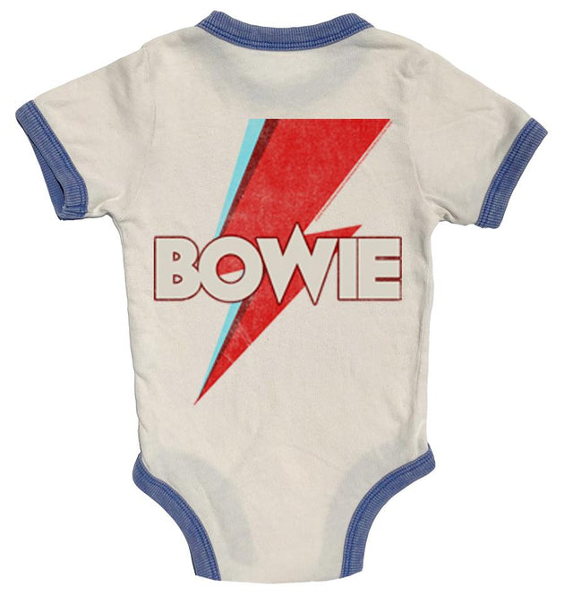 David Bowie Distressed Ringer Onesie Rowdy Sprout Lemon Drop Children's Shop - Lemon Drop Children's Shop
