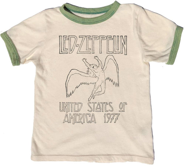 Led Zeppelin Distressed Ringer Tee Rowdy Sprout Lemon Drop Children's Shop - Lemon Drop Children's Shop