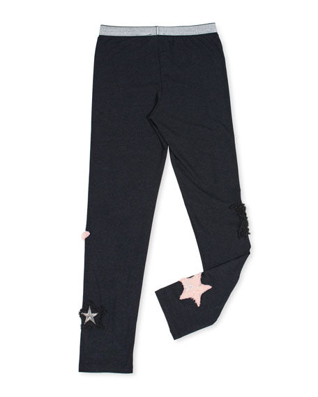 Stretch Leggings w/ Faux Fur Star Patches
