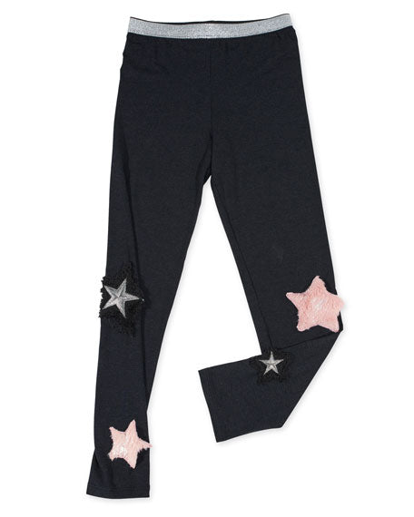 Stretch Leggings w/ Faux Fur Star Patches Hannah Banana Lemon Drop Children's Shop - Lemon Drop Children's Shop
