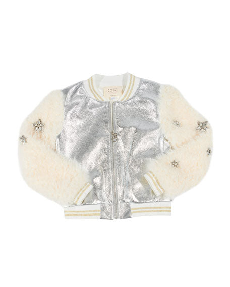 Metallic Faux Leather Bomber Jacket w/ Faux Fur Sleeves Hannah Banana Lemon Drop Children's Shop - Lemon Drop Children's Shop