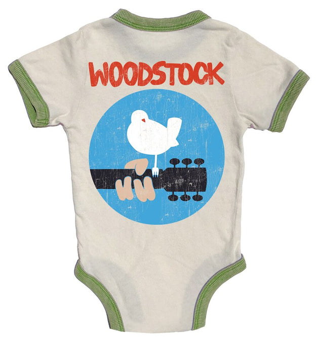Woodstock Distressed Ringer Onesie Rowdy Sprout Lemon Drop Children's Shop - Lemon Drop Children's Shop