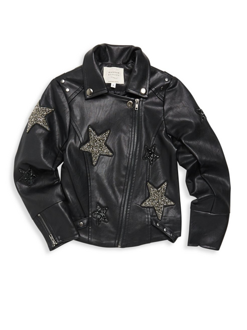 Faux Leather Jacket with embellished Stars Hannah Banana Lemon Drop Children's Shop - Lemon Drop Children's Shop