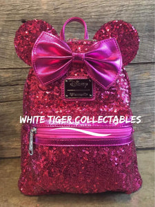 d11bb67df38 Loungefly x Disney Hot Pink Sequin Minnie Mouse Mini Backpack Only