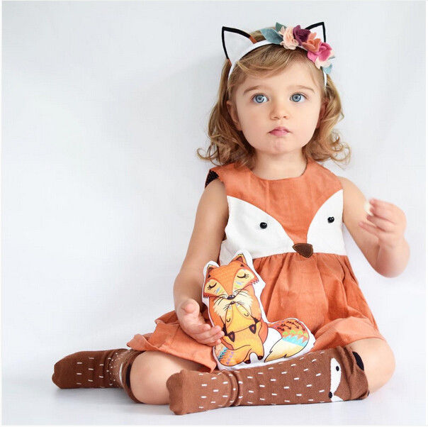 1e5bf44d633e7 1-5Y Casual Baby Girls Clothes Cute Toddler Kids Fox Dress Summer ...
