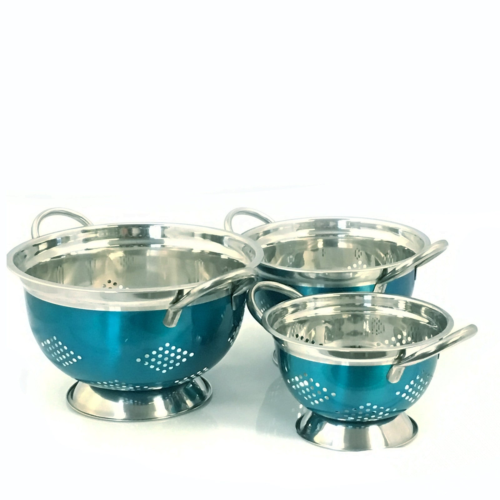 ... Oster Metaline 3 Pack Stainless Steel Asian Colander in Metallic  Turquoise ...