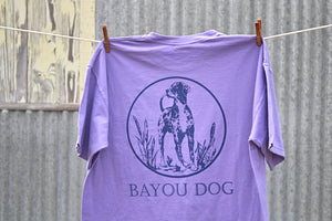 Bayou Dog T-Shirt (Orchid) - The Louisiana Catahoula Catalog, Inc. Bayou Dog T-Shirt (Orchid) - The Catahoula Shop
