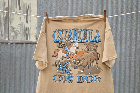 Cow Dog T-Shirt (Tan) - The Louisiana Catahoula Catalog, Inc. Cow Dog T-Shirt (Tan) - The Catahoula Shop