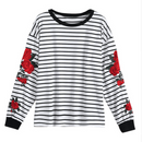 Striped Embroidery Roses Sweater - AESTHEDEX