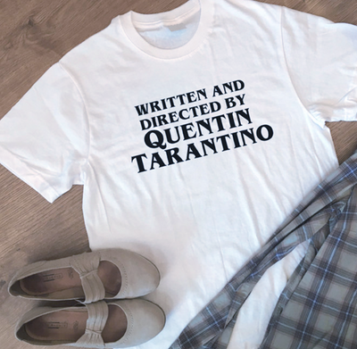 Written and Directed by Tarantino White T-Shirt - AESTHEDEX