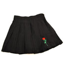 Pleated Rose Embroidery Skirt - AESTHEDEX
