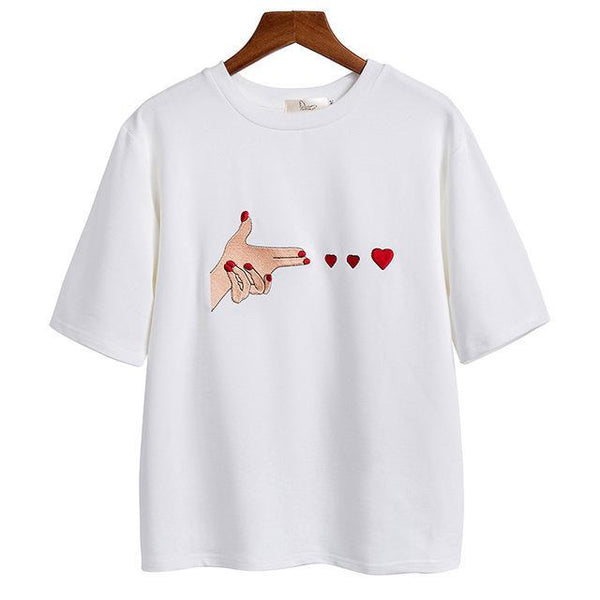 Hand Gun with Hearts T-Shirt - AESTHEDEX