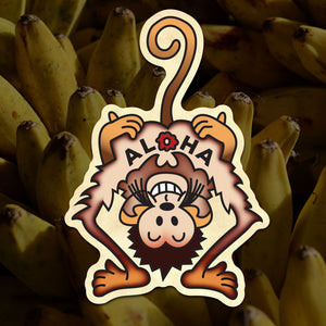 Aloha Monkey Sticker