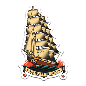 Hawai'i Bound Clipper Ship Tattoo Sticker
