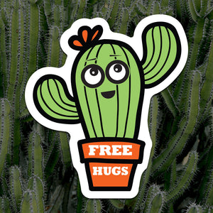 Free Hugs Cactus Sticker