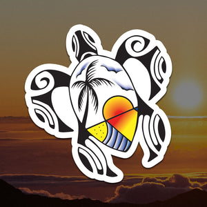Polynesian Sunset Turtle Sticker
