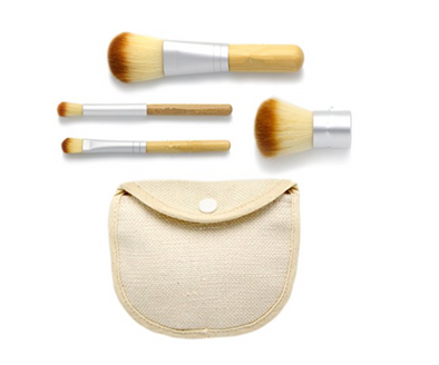 Bamboo Travel Makeup Brush Set (4-Piece)