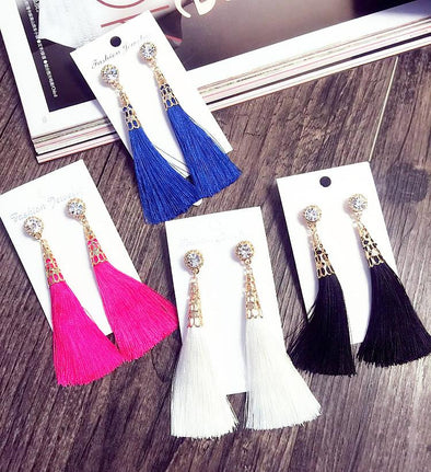 Tassel Earrings with Rhinestones