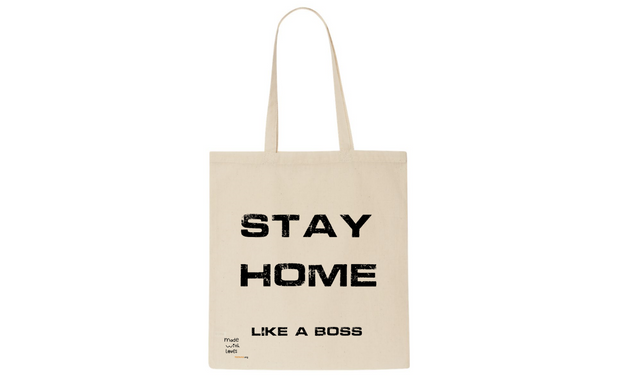 Stay home, cotton tote bag