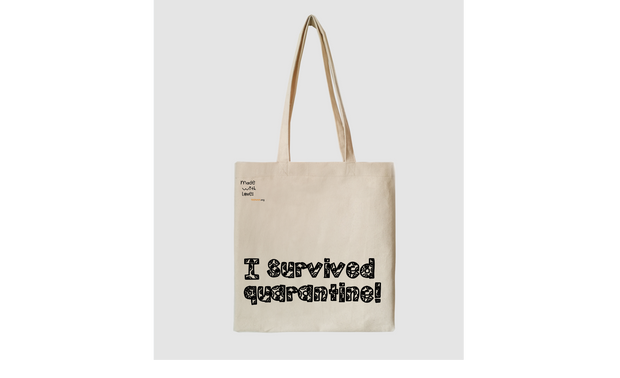 I survived quarantine cotton tote bag