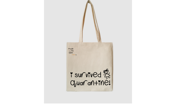 I survived quarantine, kids cotton tote bag