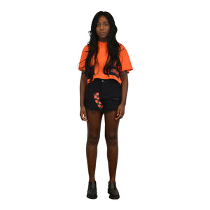 """AUTOBAHN ODYSSEY"" Distressed Black Denim Shorts, Zargara Fashion Label, Ottawa, Canada, 179 George St."