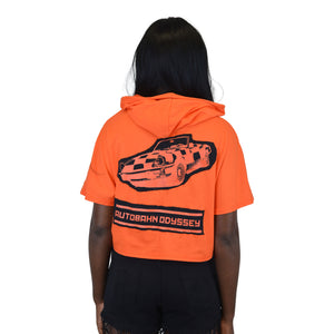 """Autobahn Odyssey"" Orange Crop Hoodie, Zargara Fashion Label, Ottawa, Canada, 179 George st"