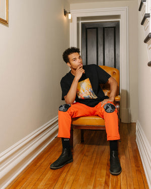 """Tree of Life"" Orange Cargo Pants, from fashion label Zargara Season 7: ""Divine Souls of Eden"", Ottawa, Canada"