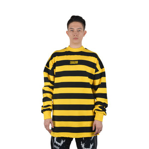 """It's Hunting Season"" Yellow + Black Stripes Long Sleeve Tee, Zargara Label, Ottawa Canada, 179 George St Flagship"
